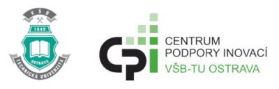 Logo Centrum podpory inovací – útvar Komercializace výsledků VaV